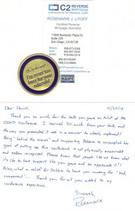 Click to see hand written note from Rosemarie Litoff.