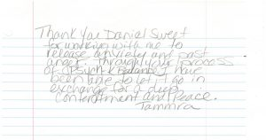 Click to see hand written note from Tammra.